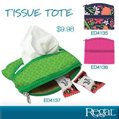 """TISSUE TOTE Achoo! Even the most lady-like of us sometimes just need a tissue. Why not carry yours in a cute cotton tote? Show your style. With a zip pocket for lozenges or mints. Use in good health! 5""""L x 4""""W"""