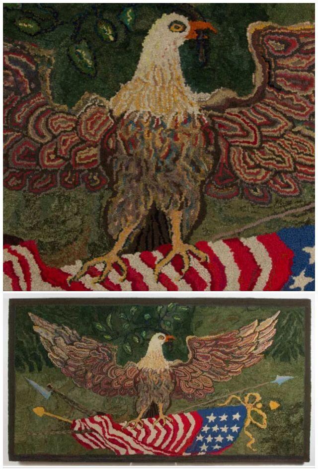Antique folk art hooked rug with eagle design.