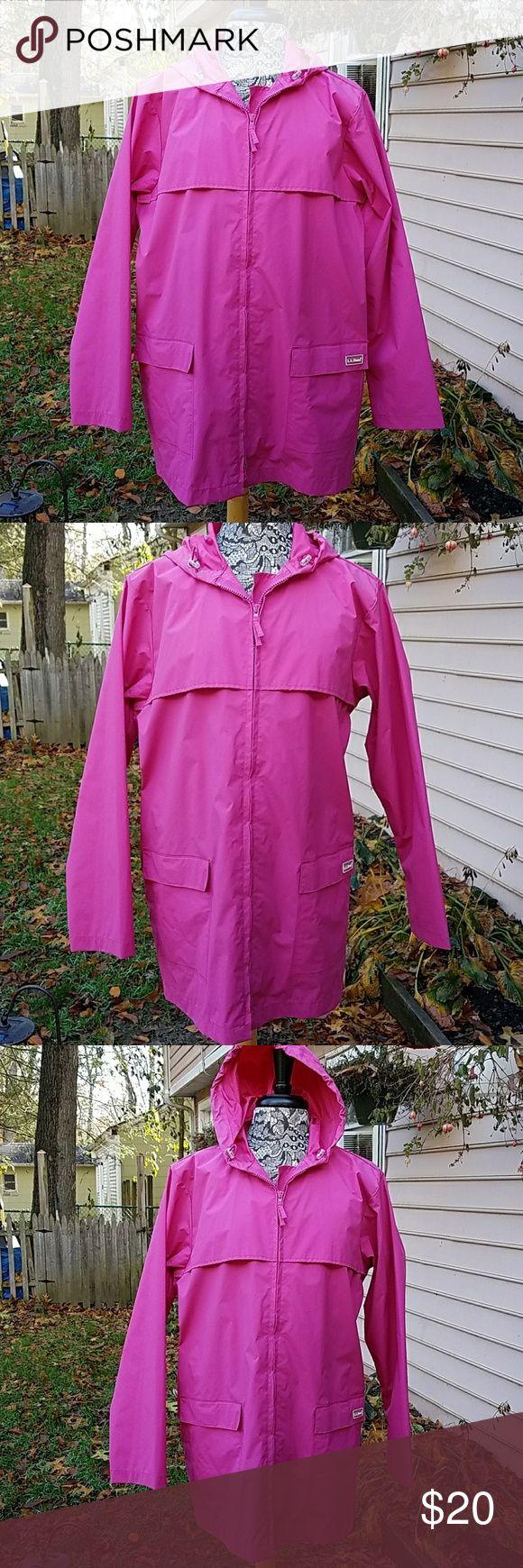 L.L. Bean Woman Rain Jacket L.L. Bean Woman Rain Jacket pink size L Zip front two pockets with velcro closure.  Vented back with drawstring hood.  Shell 70% P.V.C  backing 30% nylon.  Style 0NX08 PVC L.L. Bean Jackets & Coats