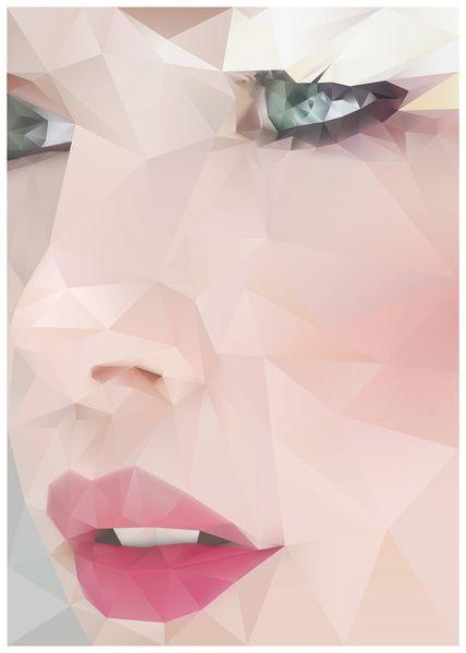 Affiche de Angie Niebles | Society6. Le visage est constitué de modèles géométriques.
