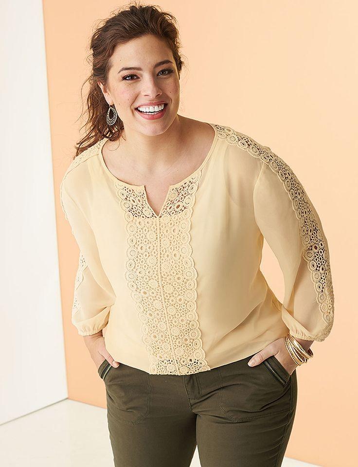 Plus Size | Tops | Blouses | Roz & ALI Plus Size Crochet Chiffon Top
