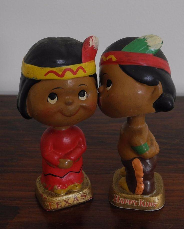 Vintage Toy Texas Happy Kids Plaster Nodding Bobble Head Kissing Indians Wedding