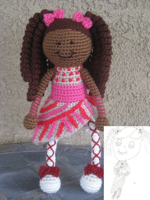 Crochet Hair For Dolls : Custom Crochet Doll Vegan African American Pink Pigtails Curls Natural ...