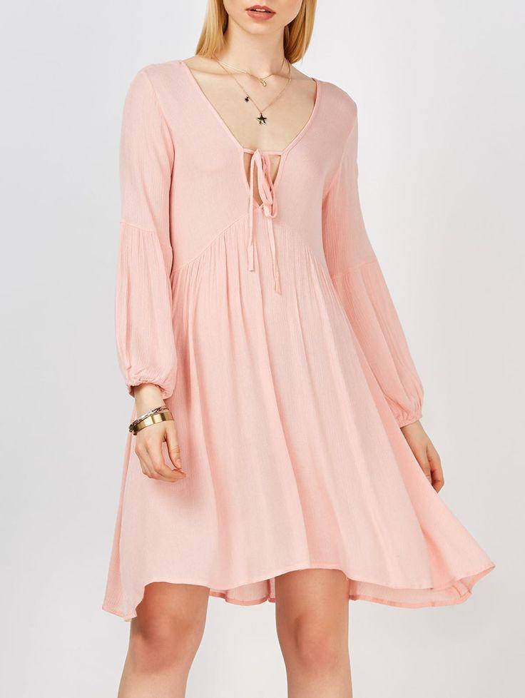 Plunging Neck Crinkled Self Tie Dress in Pink | Sammydress.com