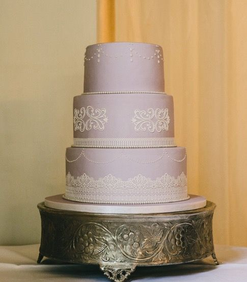 Lavender and lace wedding cake