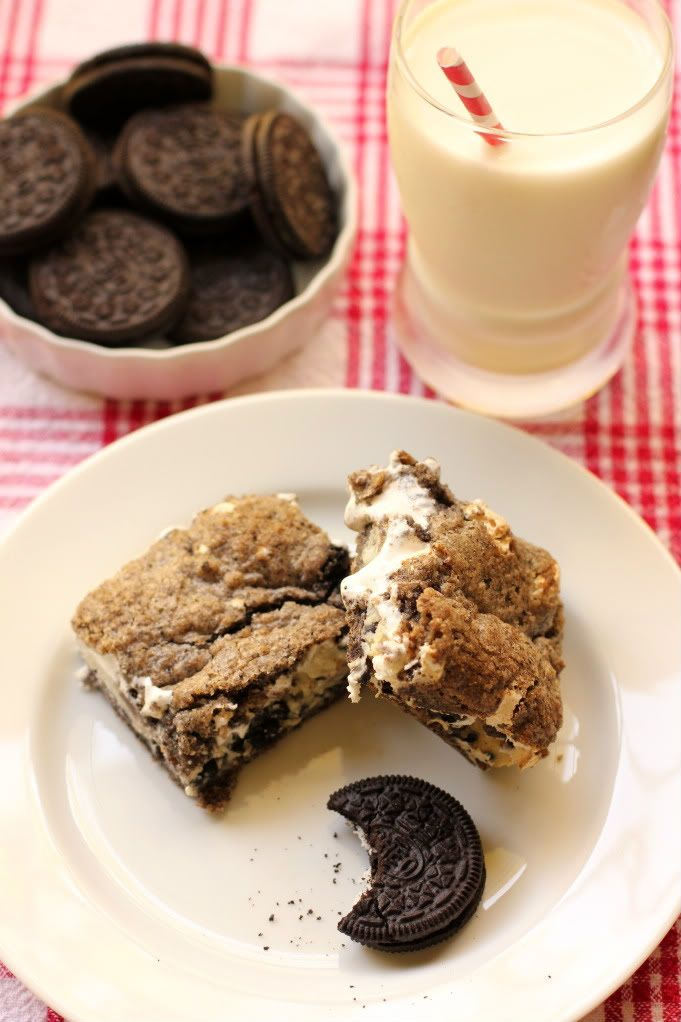 my personal favorite, gooey cookies & cream bars - so quick & easy! <3