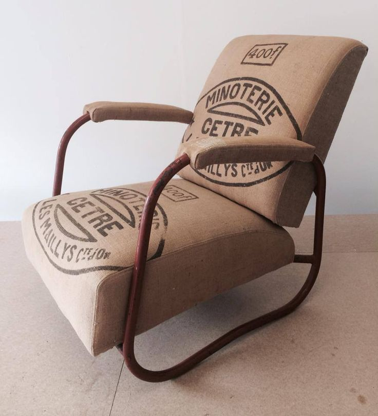 Amazing 1940s Industrial Style Armchair, Reupholstered With A Vintage  French Grain Sack.