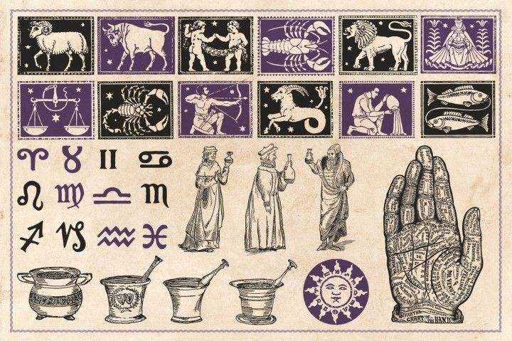 "12 ZODIAC Buttons 1/"" Badges Pinbacks Astrology Signs Mixed Set Aries Leo Gemini+"