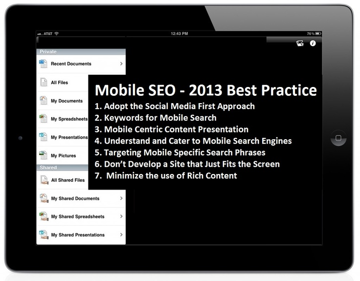 2013 will be the year of mobile SEO; already we are seeing an increasing number of users accessing internet from their mobile devices. Therefore, it makes perfect business sense to optimize your mobile website for mobile search.