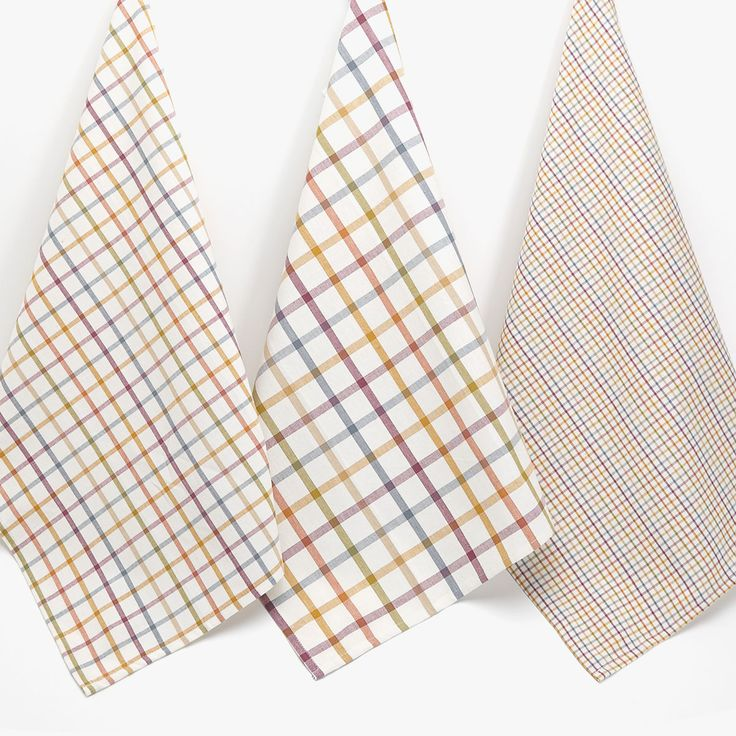Image 1 of the product MULTICOLOURED CHECKED TEA TOWEL (SET OF 3)