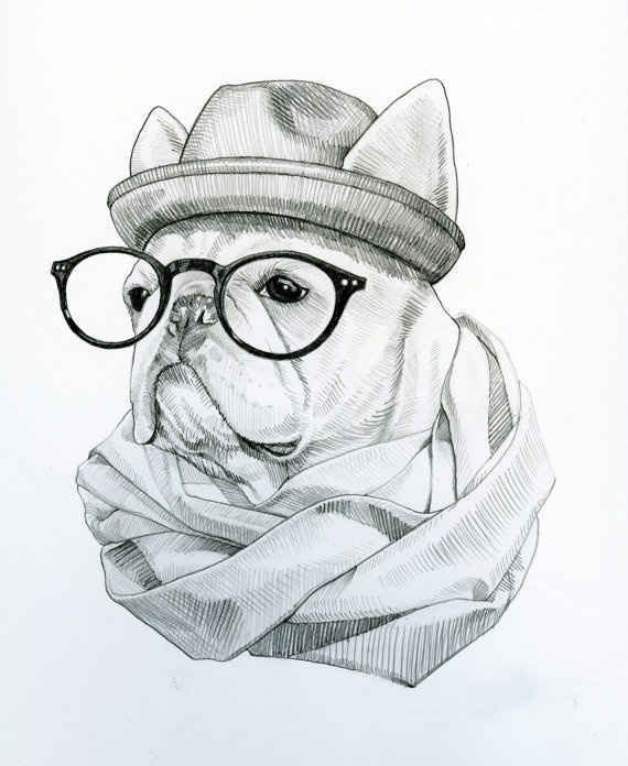 Hipster French Bulldog Drawing. $100.00, via Etsy. #etsy # ...