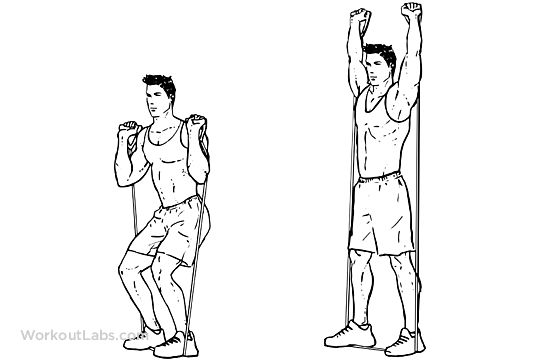 Resistance Band Squat and Overhead Press