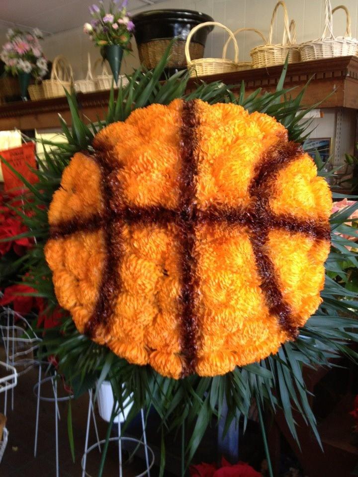 Funeral Arrangement Basketball | flower arrangements by ...