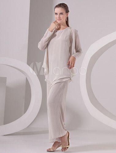 Classic Three-Piece White Chiffon Mother of the Bride Dress-No.3
