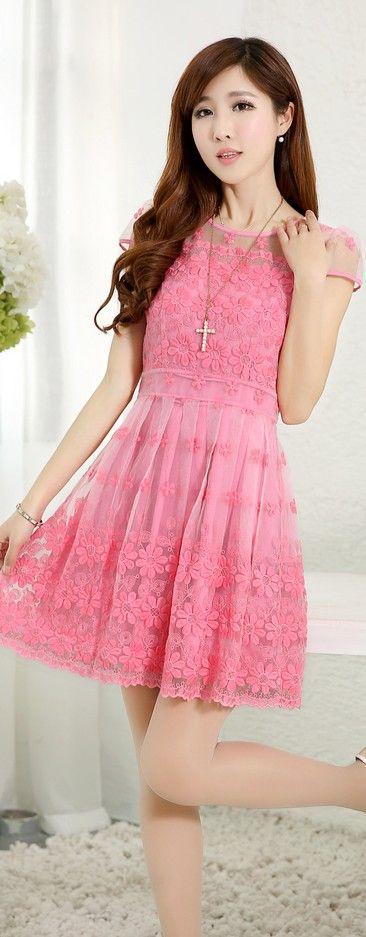 Short Sleeve Lace Dress Crocheted Flowers YRB0048