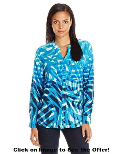 Calvin Klein Women's Print Crew Neck Roll Sleeve Top