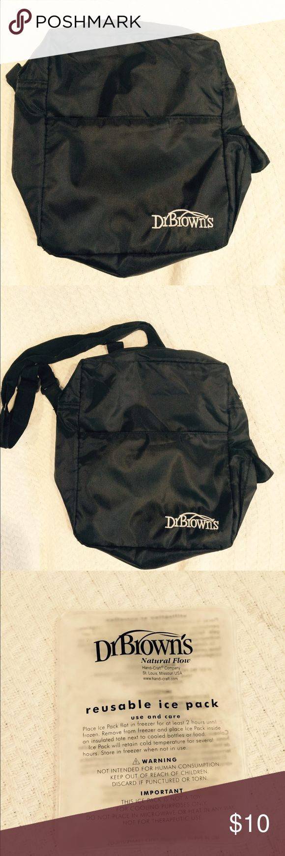Dr. Brown's Bottle Bag with Reusable Ice Pack Dr. Brown's bottle bag is a convenient way to carry bottles with formula/milk. It will be especially useful in the upcoming warmer months. This bag has only been used a few times and is in excellent like new condition. Comes with a reusable ice pack. Adjustable straps that can be worn on the shoulder or as a cross body. There is also a small compartment in the front as well as the back for small items. Dr Brown's  Bags Baby Bags