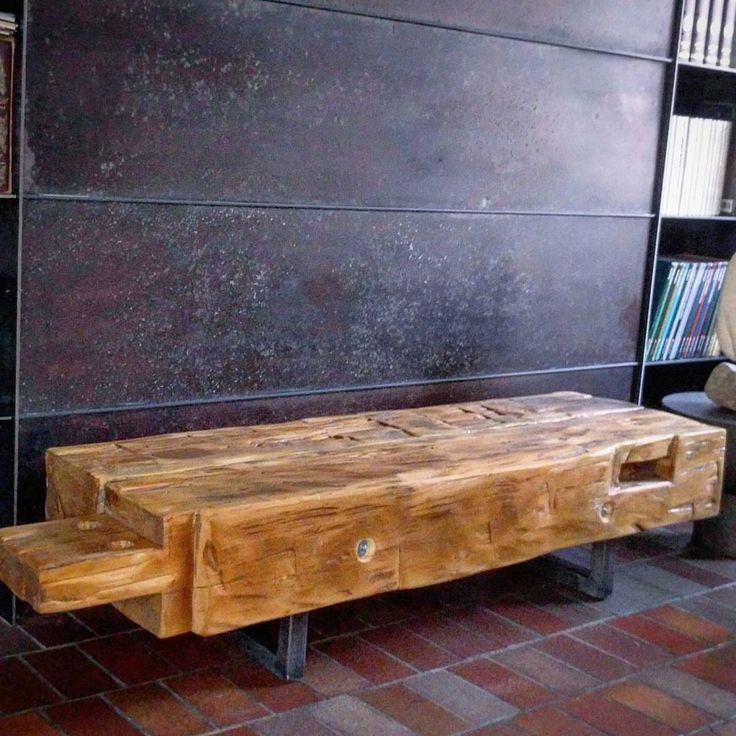 Barn Beam Coffee Table On Steel Legs By Barnboardstore.com