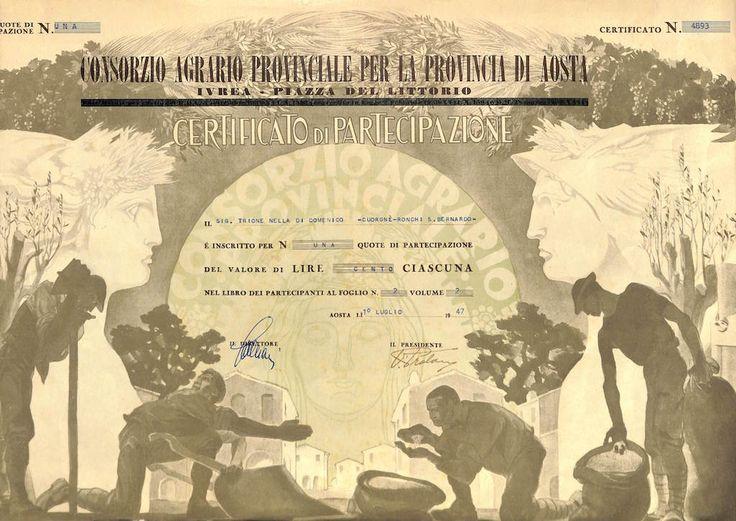 CONSORZIO AGRARIO PROV. PER LA PROVINCIA DI AOSTA - #scripomarket #scriposigns #scripofilia #scripophily #finanza #finance #collezionismo #collectibles #arte #art #scripoart #scripoarte #borsa #stock #azioni #bonds #obbligazioni