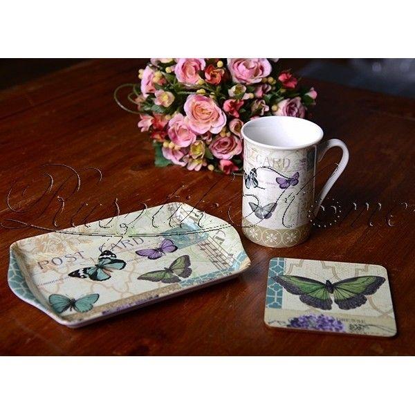 Postcard Butterfly Time for tea teázó készlet