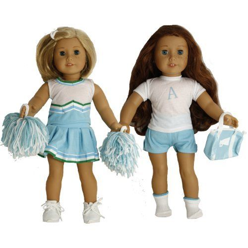 Buys By Bella's Light Blue and White Cheer and Practice Sets for 18 Inch Dolls Like American Girl  ----Two Outfits --