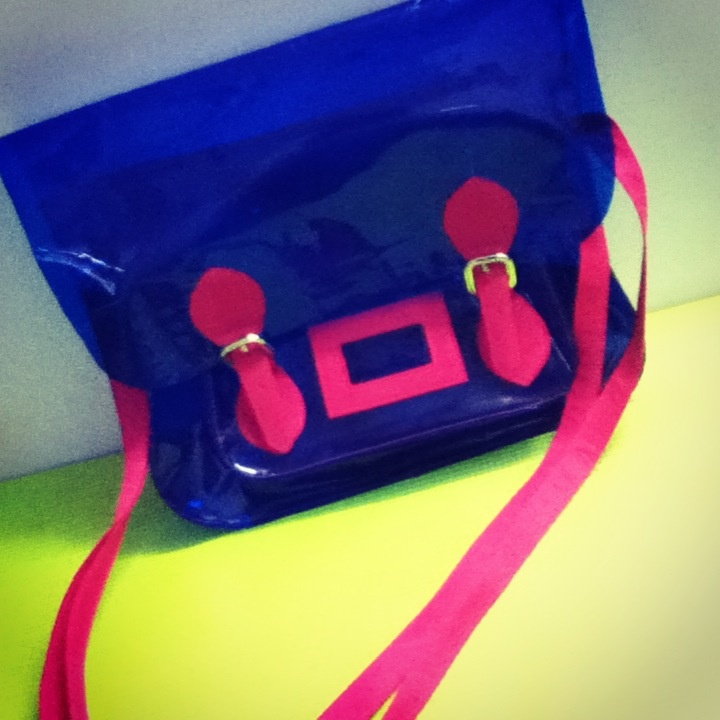 Electric Blue & Neon Pink Vinyl Satchel  (Custom-Made by The Whacky Shop)  (available in neon pink, neon green, fluorescent orange as well )   neon   armcandy   PVC   vinyl   satchel   sling   thewhackyshop  