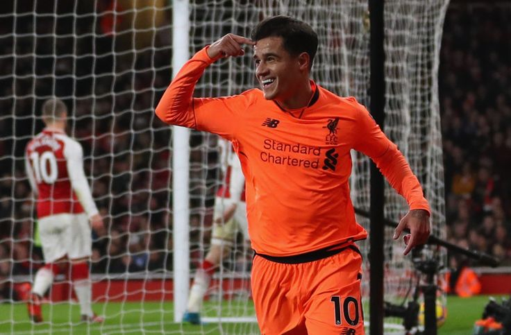 Coutinho celebrating after scoring the opener at Arsenal 22/12/17