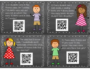 FREE! Addition and Subtraction Word Probelms with QR code checks