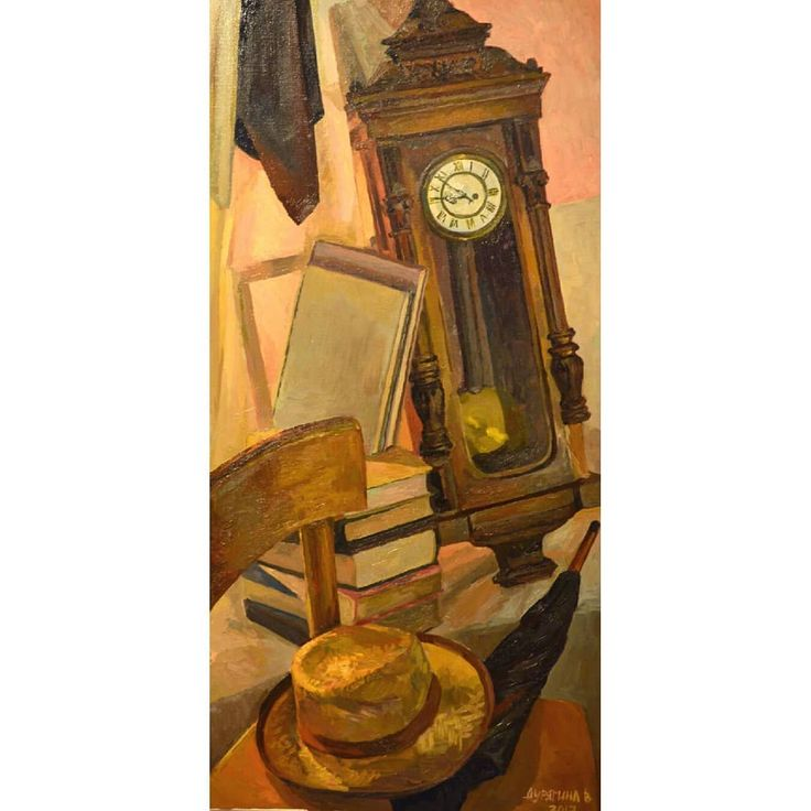 """Old clock"" still life oil painting by Victoria Duryagina"