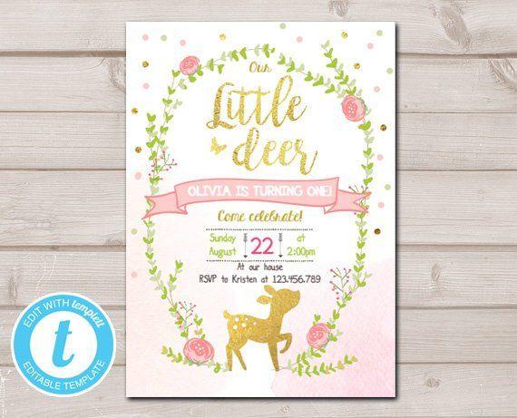 little deer birthday invitation pink and gold girl birthday spring