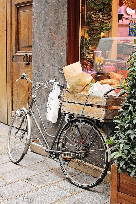 Bike Photography Paris Market Basket Baguette And Bike Basket