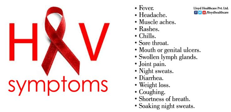 Here are most of the symptoms you will receive if you have HIV. The most common ones are Swollen lymph glands, fever, rashes and sore throat. You will experience many of these if you are positive for HIV.