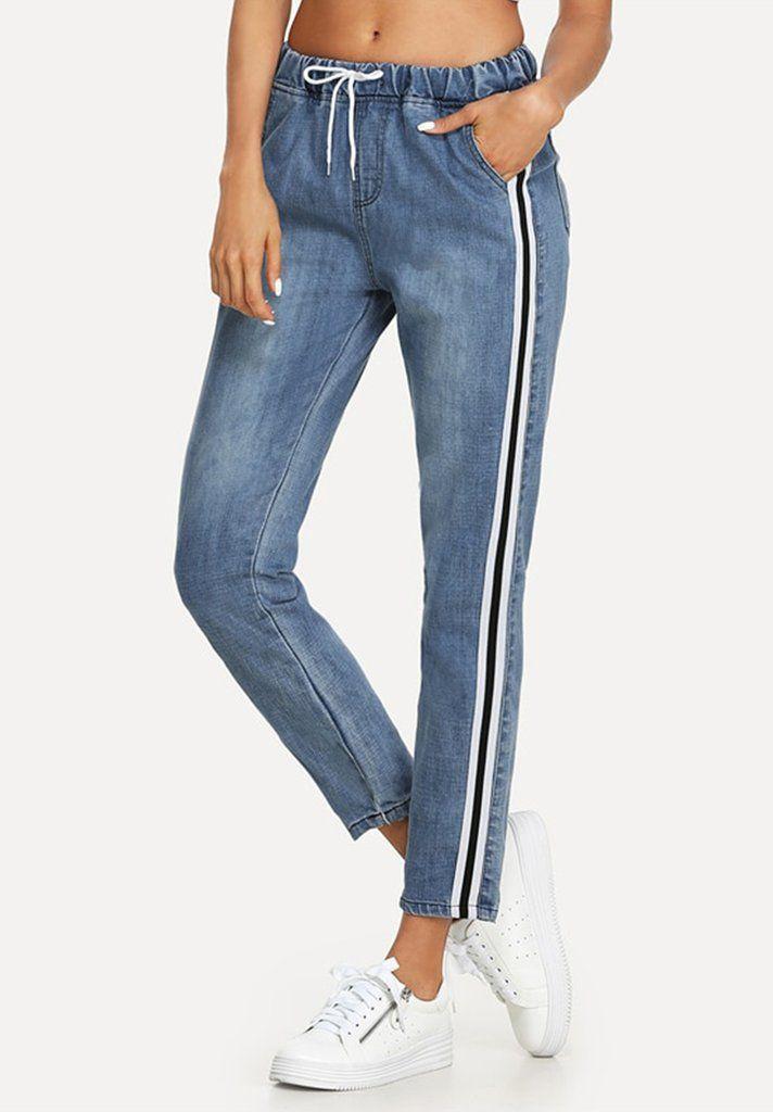 2876c2218462 Side Stripe Contrast Drawstring Jeans - Loziy.com