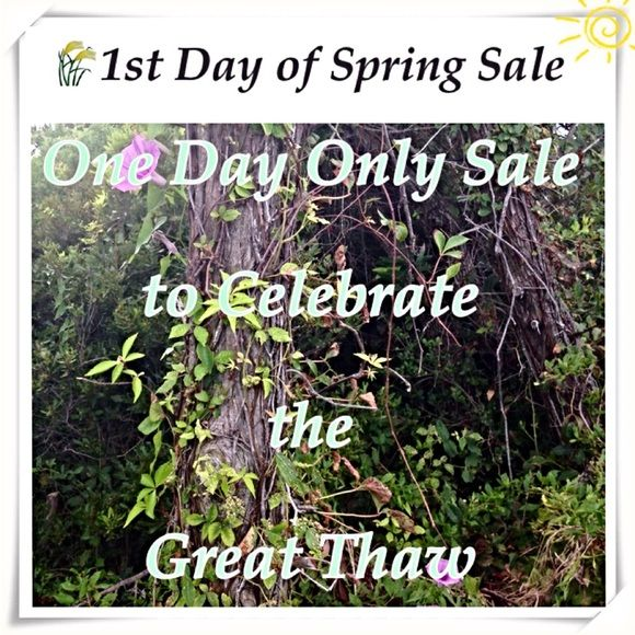 SALE - 1st Day of Spring - One Day Only Spring is right around the corner.  I realize lots of us need new stuff for a new season. So, I'm having a big sale on the first day of Spring.    ☀️Perhaps you'll be able to treat yourself or another with a great sale price                          ☀️Please bookmark this listing to receive a reminder so that you don't miss out. Happy Spring Other