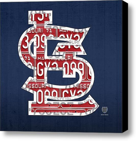 st louis cardinals baseball vintage logo license plate art canvas print canvas art by design turnpike
