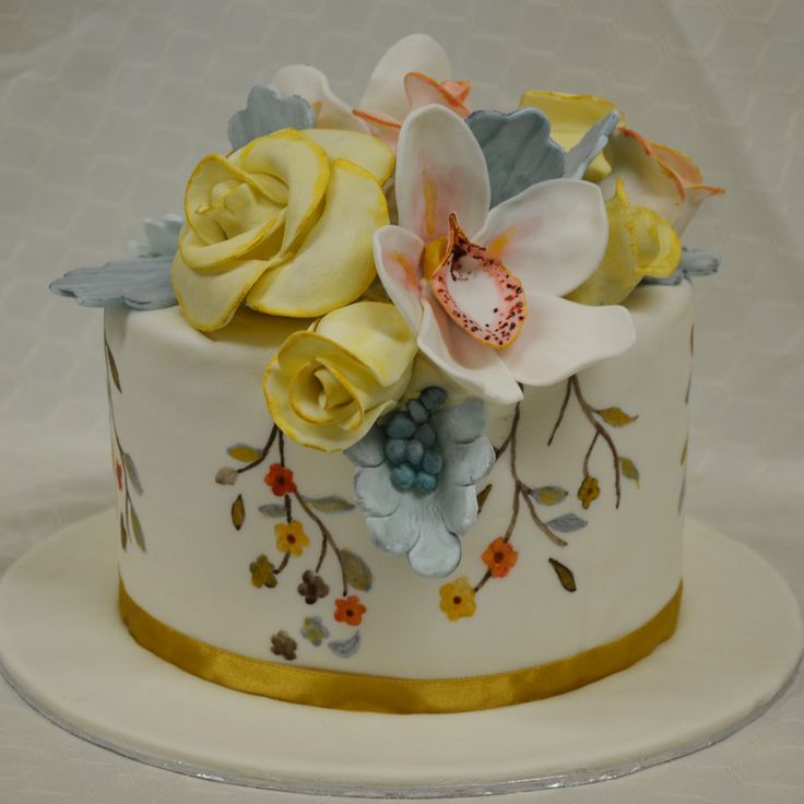 The Cake Artists - hand painted cake with flower detailing