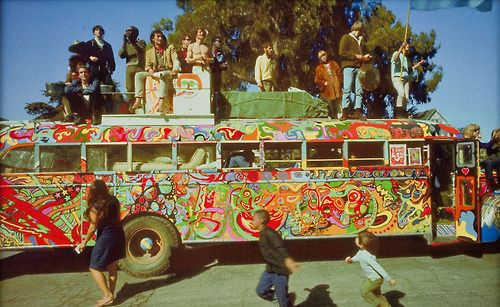 """The Merry Pranksters and their colorful """"Further"""" bus."""