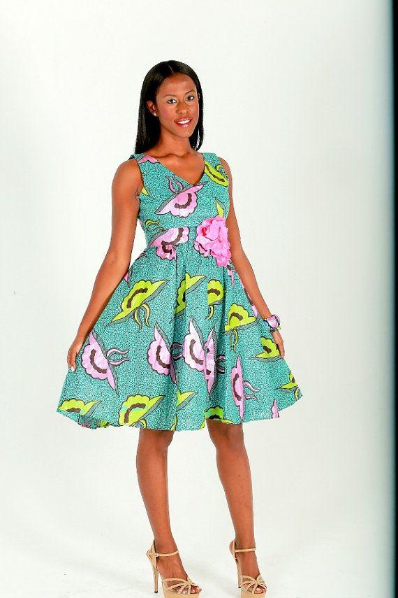 Ankara Blue Party Dress, African Dress Blue And Pink Wax Print, Handmade short Dress, Cocktail Mini Dress, Ankara Fabric Dress