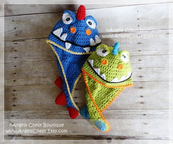 Crochet Dinosaur Hat PDF Pattern Sizes Newborn to Adult Boutique Design - No. 62…