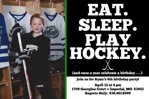 Play Hockey Birthday Party Invitation Photo Card Party