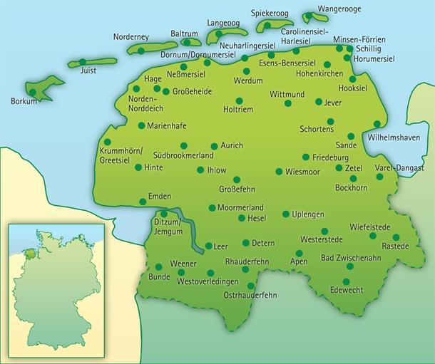 Karte von Ostfriesland