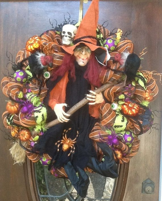 Large Orange Witch Wreath by HertasWreaths on Etsy, $165.00