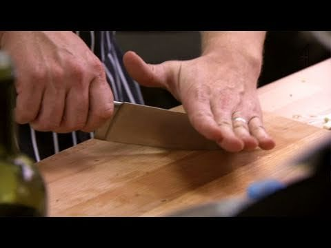 Knife Skills  -Cross chop  -Tap chop: keep the thumb at the back, knuckles on the dull edge, fingertips curled back  -Don't cut if wobbly  -Rock chop: use gentle, low to the board rocks  -Use for things with tough skin  General safety: never, ever wipe the blade!