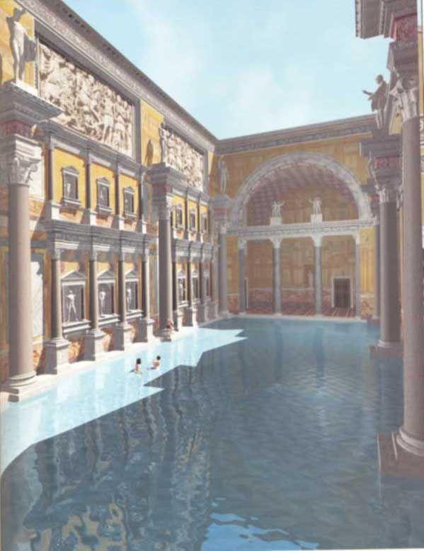 Le Terme di Caracalla, costruite tra il 212 ed il 216 d.C. dall'Imperatore Marcus Aurelius. --- N.D.: combinar con mi foto de las termas en su estado actual.