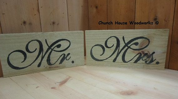 Rustic Wood Mr and Mrs Signs for Rustic by ChurchHouseWoodworks, $10.95