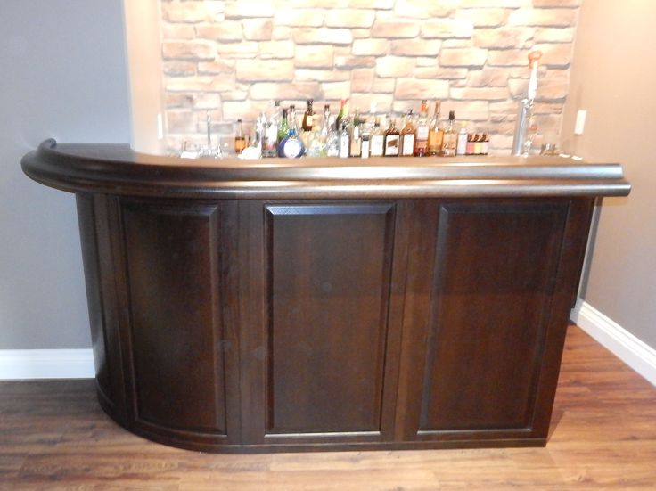 Custom curved oak bar bars for home basement bar furniture