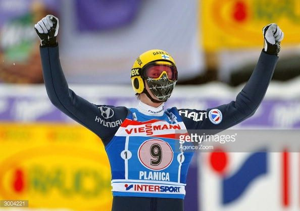 Tami Kiuru of Finland during the FIS Ski Flying World Cup on February 22 2004 in Plancia Slovenia