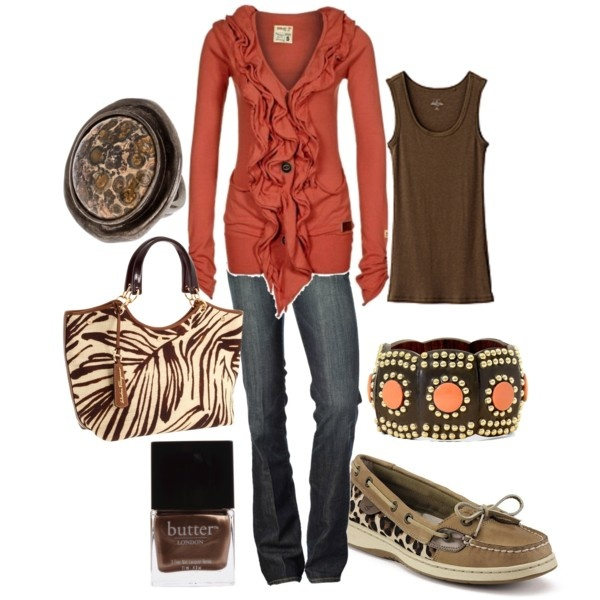 cute: Boat Shoes, Clothes, Dream Closet, Color, Cardigan, Bag, Reddish Shirt, Fall Outfit