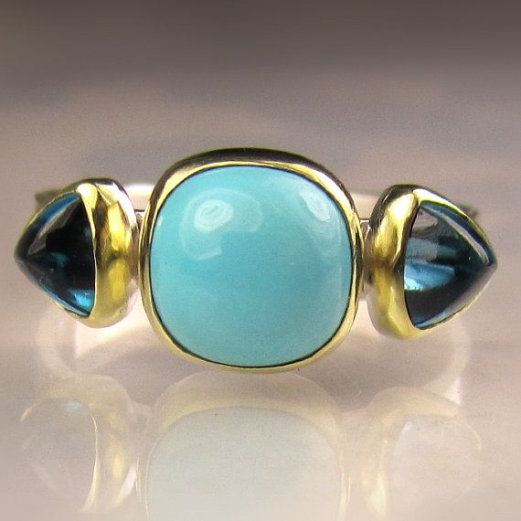 Sleeping Beauty Turquoise and Blue Topaz Ring - 18k Gold and Sterling Silver Cocktail Ring