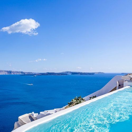 Take in the beautiful views of the Aegean Sea at the Canaves Oia Villa